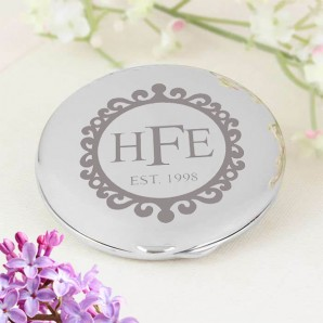 Engraved Vintage Frame Compact Mirror - Image 1