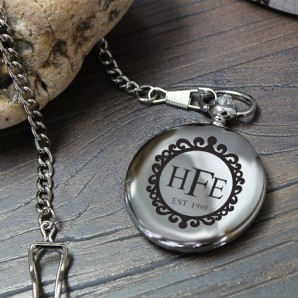 Engraved Vintage Monogram Pocket Watch - Image 1