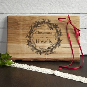 Engraved Christmas Wreath Serving Board - Image 1