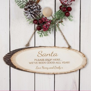 Personalised Santa Stop Here Wooden Sign - Image 1