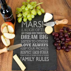Engraved Family Rules Serving Board - Image 1