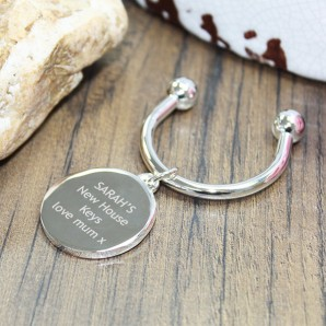 Personalised Silver Round Keyring - Image 1