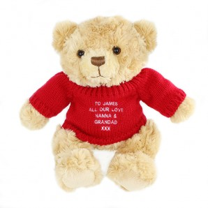 Personalised Tatty Teddy Bear - Red Jumper - Image 1