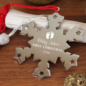 Engraved Baby 1st Christmas Snowflake Decoration - Image 1