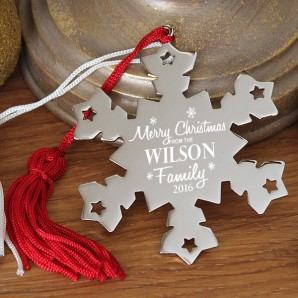 Engraved Merry Christmas Snowflake Decoration - Image 1