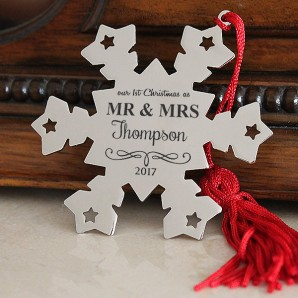 Engraved Mr and Mrs Snowflake Decoration - Image 1