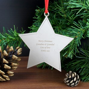 Engraved Star Shaped Tree Decoration - Image 1