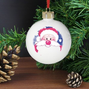Engraved Red Nose Santa Bauble - Image 1