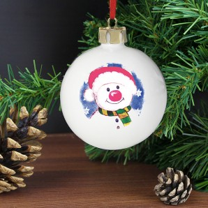 Engraved Red Nose Snowman Bauble - Image 1