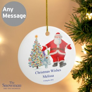 Engraved Snowman and Snowdog Santa Hanging Decoration - Image 1
