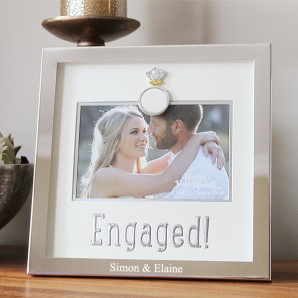 Engraved Silver Plated Engaged Design Frame - Image 1