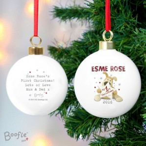 Engraved Boofle 1st Christmas Bauble - Image 1