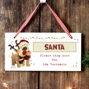 Personalised Boofie Wooden Reindeer Santa Sign - Image 1