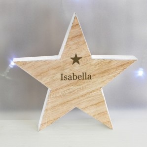 Engraved Name Wooden Star - Image 1