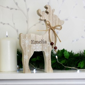 Personalised Rustic Wooden Reindeer Decoration - Image 1