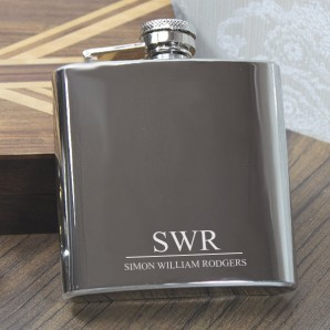 Engraved Monogrammed Name Hip Flask - Image 1