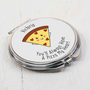 Personalised Pizza My Heart Compact Mirror - Image 1