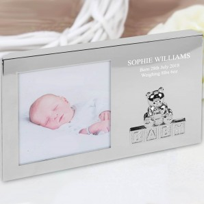 Engraved Silver Baby Photo Frame - Teddy Bear - Image 1