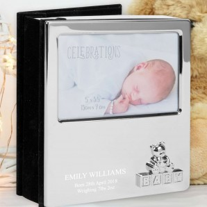 Engraved Silver Baby Photo Album - Teddy Bear - Image 1