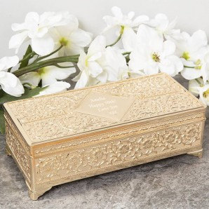 Engraved Gold Plated Jewellery Box - Image 1