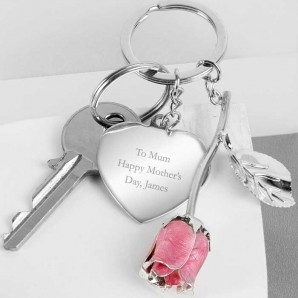 Engraved Rose Keyring - Image 1