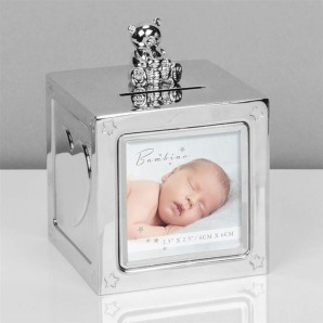 Personalised Silver Photo Teddy Money Box - Image 1
