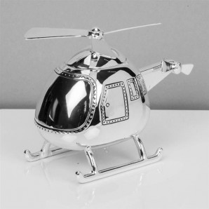 Silver Plated Helicopter Money Box - Image 1