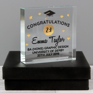Personalised Graduation Crystal Glass Block - Image 1