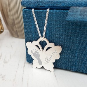 Sterling Silver Engraved Imprint Butterfly Necklace - Image 1