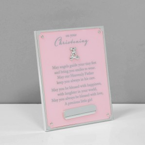 Bambino Pink On Your Christening Plaque   Engraving Plate - Image 1