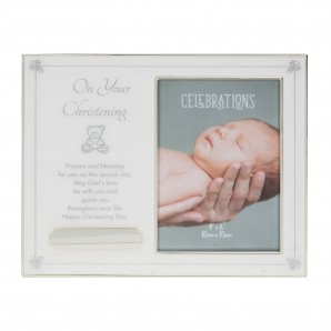 4  x 6    Christening Photo Frame with Engraving Plate - Image 1