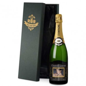 Personalised Gold Frame Photo Upload Champagne - Image 1