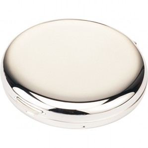 Engraved Silver Round Compact Mirror - Image 1