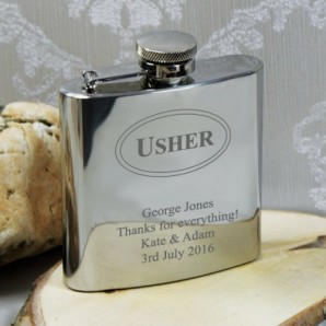 Engraved Grooms Man Hip Flask - Image 1