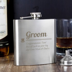 Engraved Groom 6oz Hip Flask - Image 1