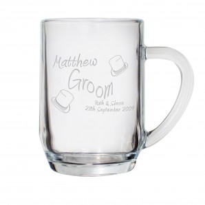 Engraved Glass Wedding Role Tankard - Image 1