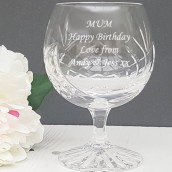 Engraved Crystal Brandy Glass