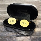 Personalised Gold Plated Oval Cufflinks