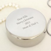 Engraved Silver Round Jewellery Box
