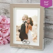 Personalised Silver Crystal Wedding Ring Photo Frame