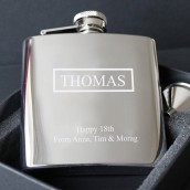 Engraved Name Badge 6oz Hip Flask
