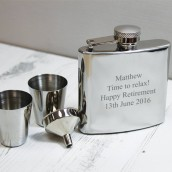 Engraved Hip Flask and Cup Gift Set