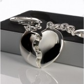 Personalised Silver Split Heart Keyring