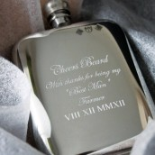 Engraved Cushioned 6oz Pewter Hip Flask