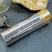 Engraved Shotgun Cartridge Hip Flask 6oz