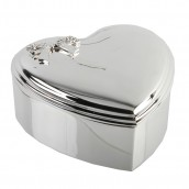Engraved Silver Heart Bow Jewellery Box