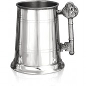 Engraved 18th 1 Pint Pewter Tankard