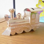 Engraved Silver Train Money Box
