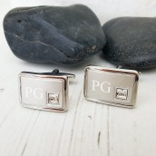 Personalised Silver Plated Crystal Corner Cufflinks