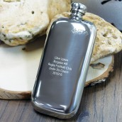 Engraved Slimline 3oz Pewter Hip Flask
